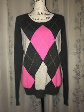 Apt. 9 2-Ply 100% Cashmere Gray Argyle Scoop Neck Long Sleeve Sweater Size L