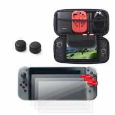 Travel Carrying Case+3x Clear Screen Protector+Black Caps For Nintendo Switch