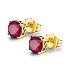 Classic Garnet Red Crystal Sapphire 18K Gold Filled Women Lady Stud Earrings BOX