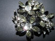 large black and clear navette rhinestone on silver tone brooch