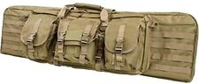 "Vism Double Carbine Case 46"" Dual Rifle Range Bag Shooting Hunting Tactical TAN-"