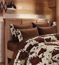 7 pc Chocolate Rodeo Cow Print Queen Comforter,Sheet, & Pillowcase Set