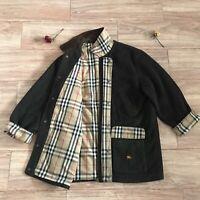 Burberry's coat jacket nova check overcoat wool lined mens green olive size M 20