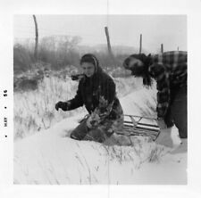 SLEDDING IN THE COUNTRY SNOW MYSTERY WOMAN FLANNEL COATS & BOOTS VTG PHOTO 226