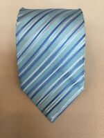 Charvet Green Blue Striped Silk Tie Made in France