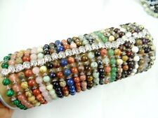 Natural agate Gem 8MM Mix Round Charms Beads Bracelets Silver Buddha head