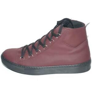 Sneakers alta in vera pelle gommata bordeaux stringata con ganci linguetta in ad