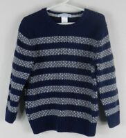 Janie and Jack Boys Size 4 Blue Gray Sweater Striped Long Sleeve Crew Neck