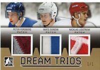 2014-15 ITG Draft Prospect Dream Trio Patch Gold #D37 Forsberg/Sundin/Lidstrom/1
