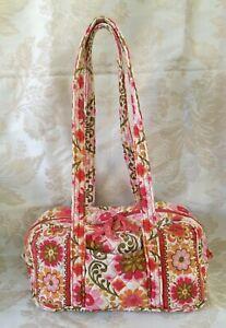 Vera Bradley FOLKLORIC Floral Barrel Duffel Style Handbag Shoulder Purse