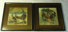 mid century modern Thai Watercolors Artist Signed Yong Fo pair