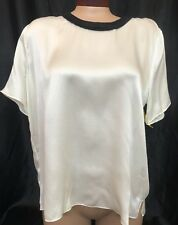 Band Of Outsiders Top Off White  Silk Short Sleeve Size Xl