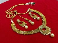 Traditional Gold Plated Indian Bridal Women Bollywood Jewelry Necklace Set