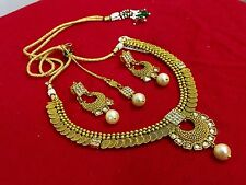 Fashion Bridal Jewelry Necklace Set Indian Ethnic Gold Plated Bollywood
