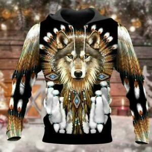 Native American Wolf 3D Hoodie Mothers Day Gift Custom Printed S-5XL
