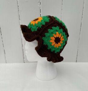 Bucket Hat Crochet Boho Retro Hippy Wooly Handmade Adult Teen Unisex Festival