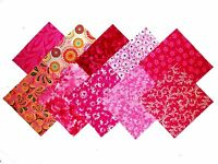50 4 inch Quilting Fabric Squares PRETTY IN PINK/Beautiful!-10 DIFFERENT-4 EACH