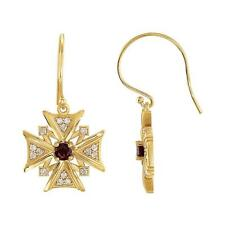 14k Yellow Gold Mozambique Garnet and Diamond Vintage Style Cross Earrings