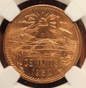 1952 Mo Mexico 20 Centavos NGC MS 65 RD Fiery Red Gem free shipping