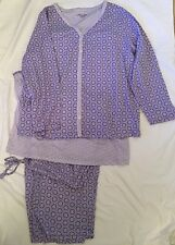 KIM ROGERS 3X PAJAMA & SHORT ROBE SET 3-Piece Purple White Cotton/Poly Pant Tank