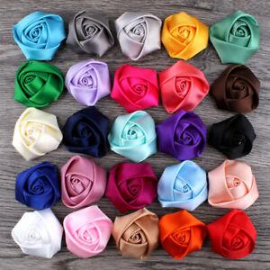 10/50/100pcs 40mm Satin Ribbon Rose Flower For DIY Crafts Decoration Applique