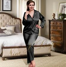Nine X Womens Plus Size Lingerie S-6xl Satin Pyjamas Long Sleeve Nightwear Pj's 24 Black