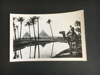 Original Postcard Egypt 1960s RPPC black and white Real Photo Pyramids Nile