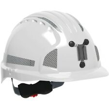 JSP Mining Hard Hat Cap Style with 6 Point Ratchet Suspension, White