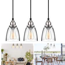 Set 3 Kitchen Pendant Light Brushed Nickel Fixture Vintage Glass Hanging Island