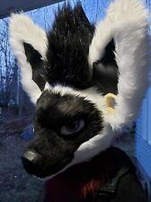 Grumpy Black White Fursuit Wolf Skull Head WishFurs Premade 3D Base