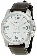 Casio Men's Brown Leather Quartz Watch with Silver Dial MTP1314L-7AV