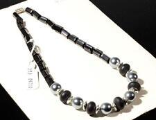 "17"" necklace black pentagon rondelle metallic pearl Czech vintage glass beads"