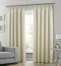 Faux Silk Fully Lined Ready Made Curtain Pair Pencil Pleat Curtain Tape Top