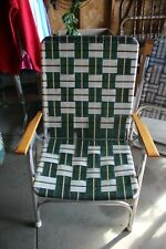 Vintage Lawn Camping Folding Aluminum Chair Wood Arm Rest Webbed Green White