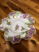 Beautiful Vintage Nippon Japan Ribbed Floral Hand Painted Pottery Bowl Dish