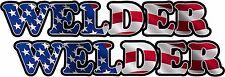 "2 - 3"" Welder American Flag Decal Set Mig Tig Arc Welding Helmet Sticker Usa"