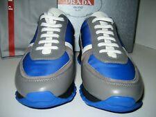 New Prada Women Us 5.5 Eu 36 Sneakers Blue Gray White Black Leather Tennis Shoes