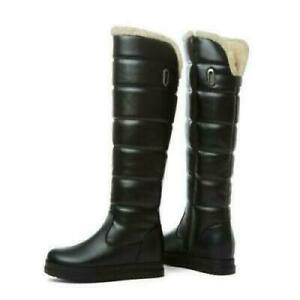 Women Winter Warm Zip Up Hidden Heel Wedge Snow Knee High Boots Casual Shoes M