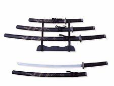 "3Pc. Samurai Sword Set w/ Stand 39.5"" Katana 30"" Wakizashi 22"" Tanto"