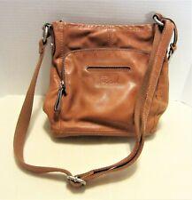 Fossil Chestnut Brown Leather Cross Body Shoulder Messenger Bag Compartments