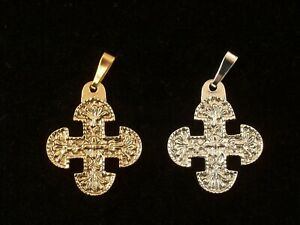 Australian Made Christian Gold and Silver Metal Round-Edged Cross with Chain