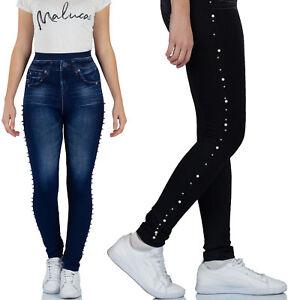 MALUCAS SPORTS Damen High Waist Leggings Jeans-Look Leggins Jeggings Stretch Gym