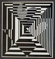 """Victor Vasarely """"Ihar"""" Mounted b/w Offset Lithograph 1971"""