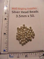 SILVER HEAD BEADS - 3.5mm approx 50 for Fly Tying