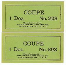 2 Lot DENT HARDWARE Coupe # 293 Cast Iron Toy 1 Doz VINTAGE Paper Box Label