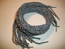 "Lot Of 12 Pair 42"" Long Flat Unisex Shoe Laces Strings Striped Blue. Un-Packaged"