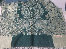 Teal Green Jamawar Pashmina Shawl With Sparkly Glitter Thread Paisley & Floral