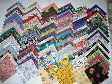 """150-4"""" QUILT SQUARES+FABRIC+QUILTING MATERIAL+ASSORTED COLORS 100% COTTON"""