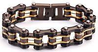 Men's Stainless Steel Double Link Black Gold Bike Chain Bracelet USA Seller!