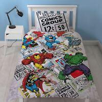 Marvel Comics Rétro Housse Couette Simple Set Réversible Enfants Garçons Literie